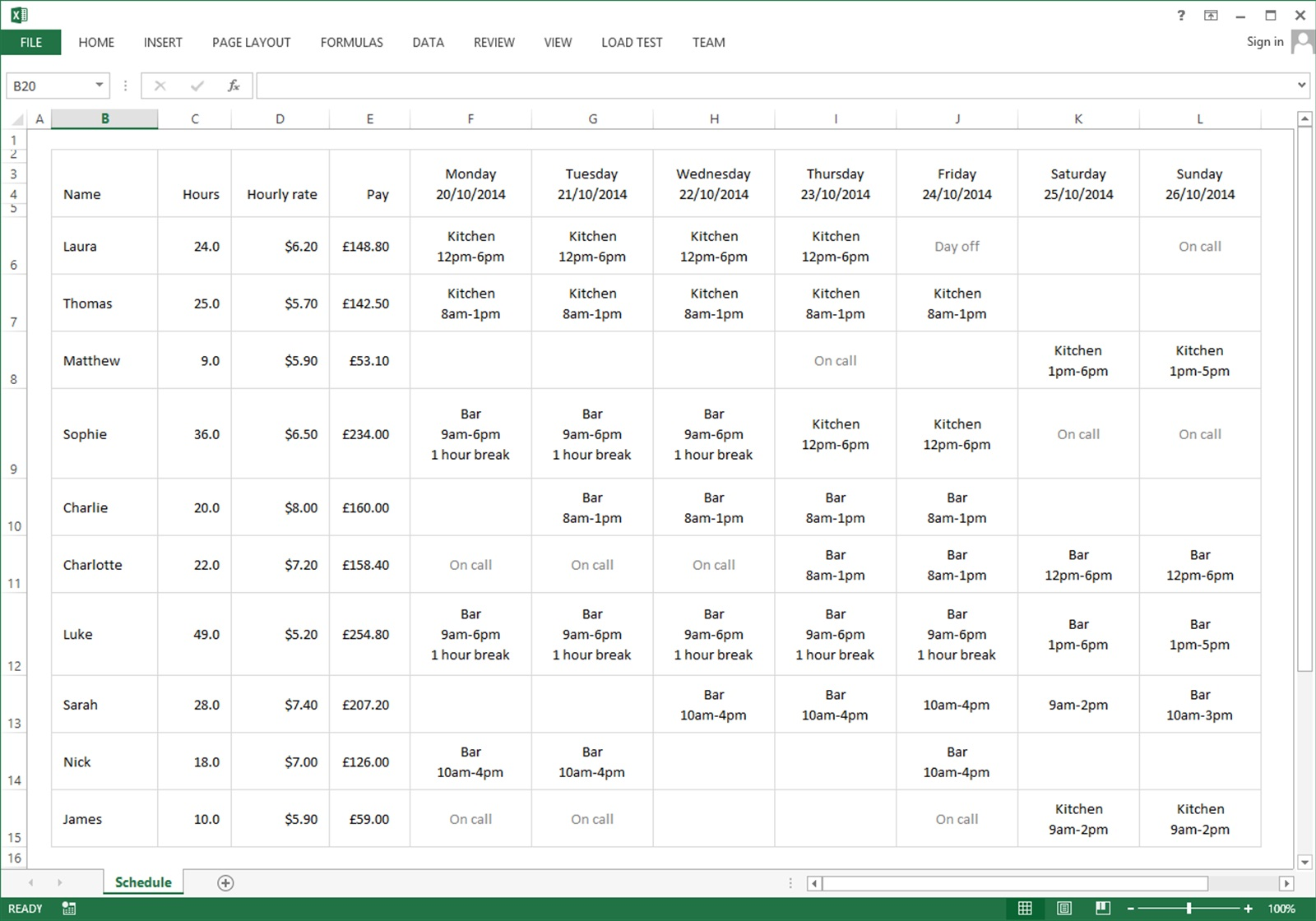 Free Excel template for your employee schedule · Findmyshift