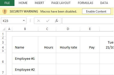 enabling macros in excel - Free Schedule Template
