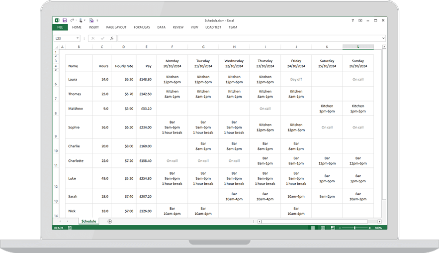 Download a free staff roster template for excel findmyshift for Duty schedule template
